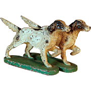Antique Hubley English Setter Dog Bookends or Doorstops Cast Iron Pair