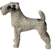 Vintage Miniature Cast Metal Wire Haired Fox Terrier Dog Figurine