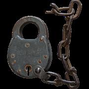 Vintage Norfolk & Western Railway Steel Miller Utility Lock N&WRY Railroad Padlock
