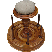 Incredible Turned Post Sewing Mushroom Pincushion Thread Spool Spindle Stand