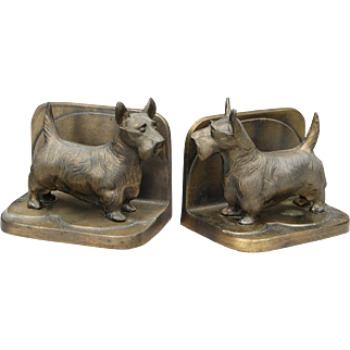 Vintage 1920s Signed Frankart Brass Full Body Scottie Dog Bookends