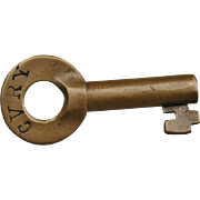Antique Central Vermont Railway CVRY Brass Switch Key by Fraim Railroad