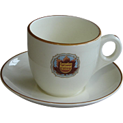 "Vintage 1920s Canadian National Railway ""Queen Elizabeth"" Royal Doulton Railroad China  Demitasse Cup & Saucer Set"