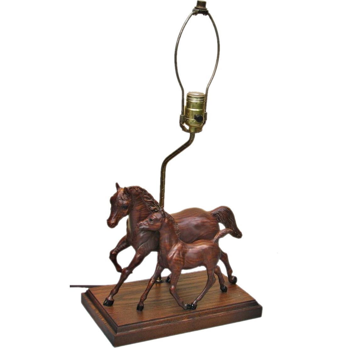 Breyer Horse Woodgrain Mare & Colt Table Lamp Vintage 1960s