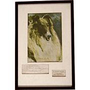 Framed Albert Payson Terhune Autograph and Collie Dog Print Tribute