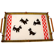 Vintage 1940s-1950s Scottie Dog Gallery Style Serving Tray