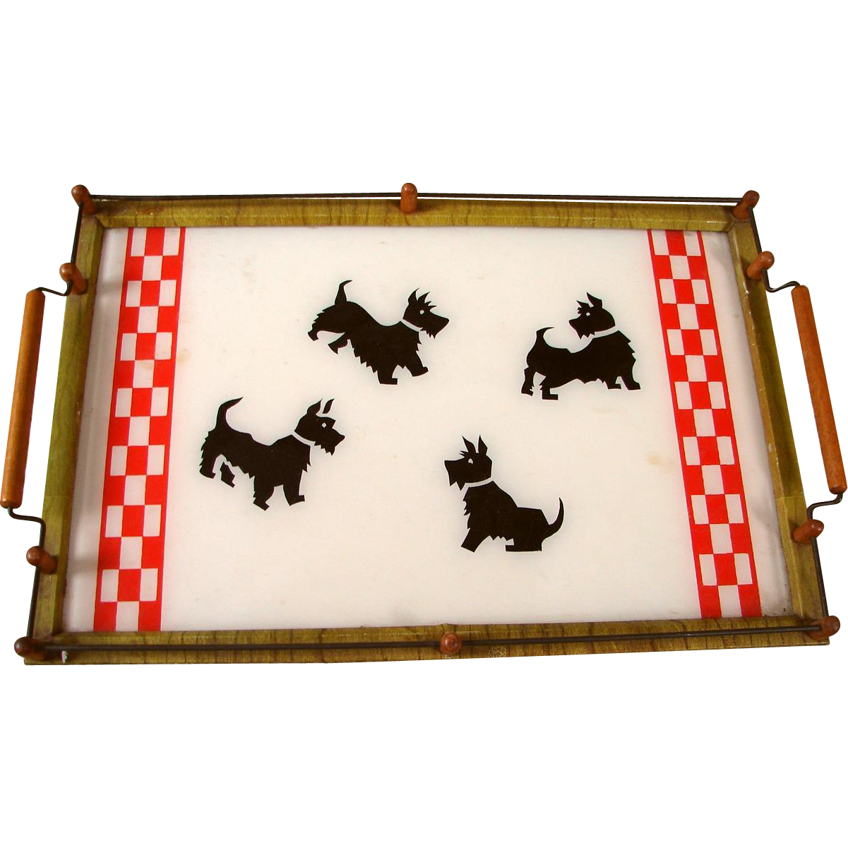 Vintage Deco 1940s-1950s Scottie Dog Gallery Rail Handled Serving Tray