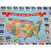 "1959 Tin Lithographed ""Flags Of Our 49 States"" 1959 Map National Biscuit Company"