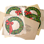 Vintage 1920s Group of FOUR Frank Paper Traco Transparency Holiday Wreath Window Decals Original & Unused