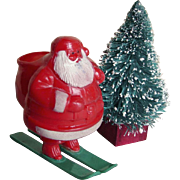 Vintage 1940s-1950s Skiing Santa Claus Candy Container & Tall Bottle Brush Tree Mid-Century Christmas