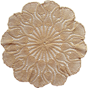 """Antique Victorian Hand Made """"Pineapple"""" Lamp Table Doily Museum Quality"""