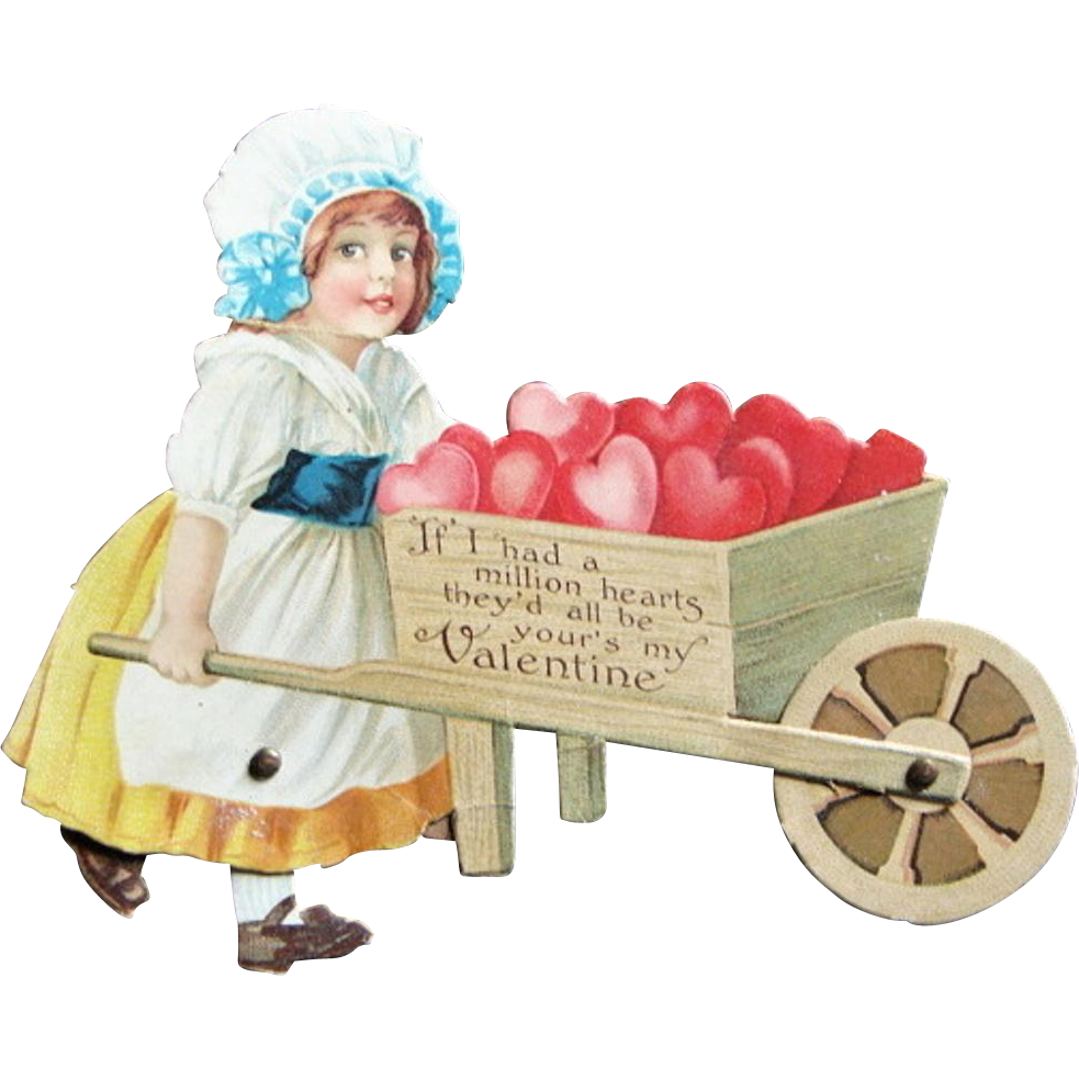 Adorable 1923 Large Die Cut Motion Valentine Wheelbarrow of Hearts