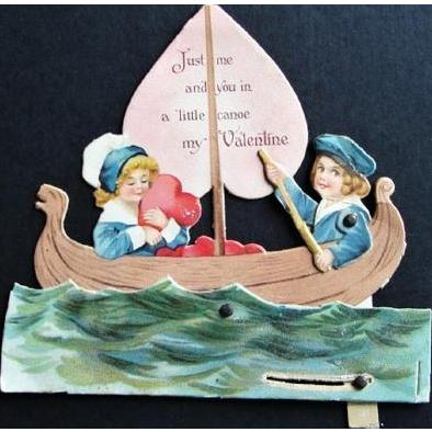 Vintage 1923 Motion Valentine Girl and Boy Paddling Canoe Die Cut