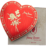 Vintage 1960s Big Red Fanny Farmer Valentine Heart Chocolate Box + Original Outer Box