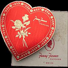 Vintage 1960s Big Red Fanny Farmer Valentine Heart Chocolate Box + Original Outer Box