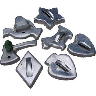 Vintage Group of SEVEN 1950s Aluminum Cookie Cutters