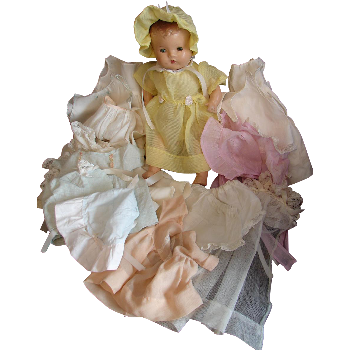 Vintage 1930s Mama Doll + 17 Pcs HAND MADE Clothing Wardrobe Trousseau Cloth Body Composition
