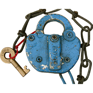 Vintage TRRA Terminal Railroad Association St. Louis Adlake Switch Lock & Key Set