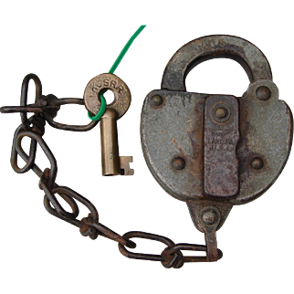 Vintage KCSRR Kansas City Southern Railway Switch Lock & Key Set Railroad