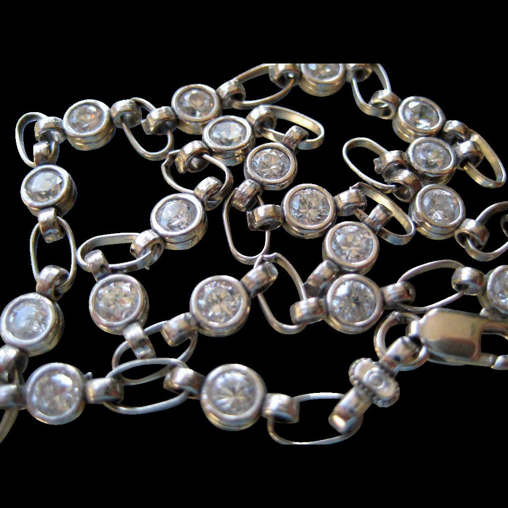 10k White Gold CZs Ankle Bracelet - 10 inches