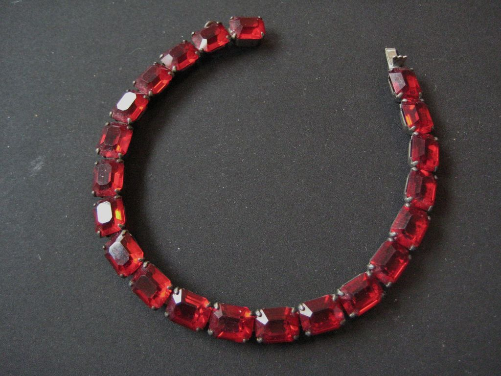 Sterling Silver Open Back Red Glass Bracelet - Chicklet Shaped Stones