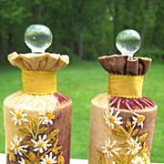 Rare Victorian Velvet Crewel-Work Pair of Perfume Bottles