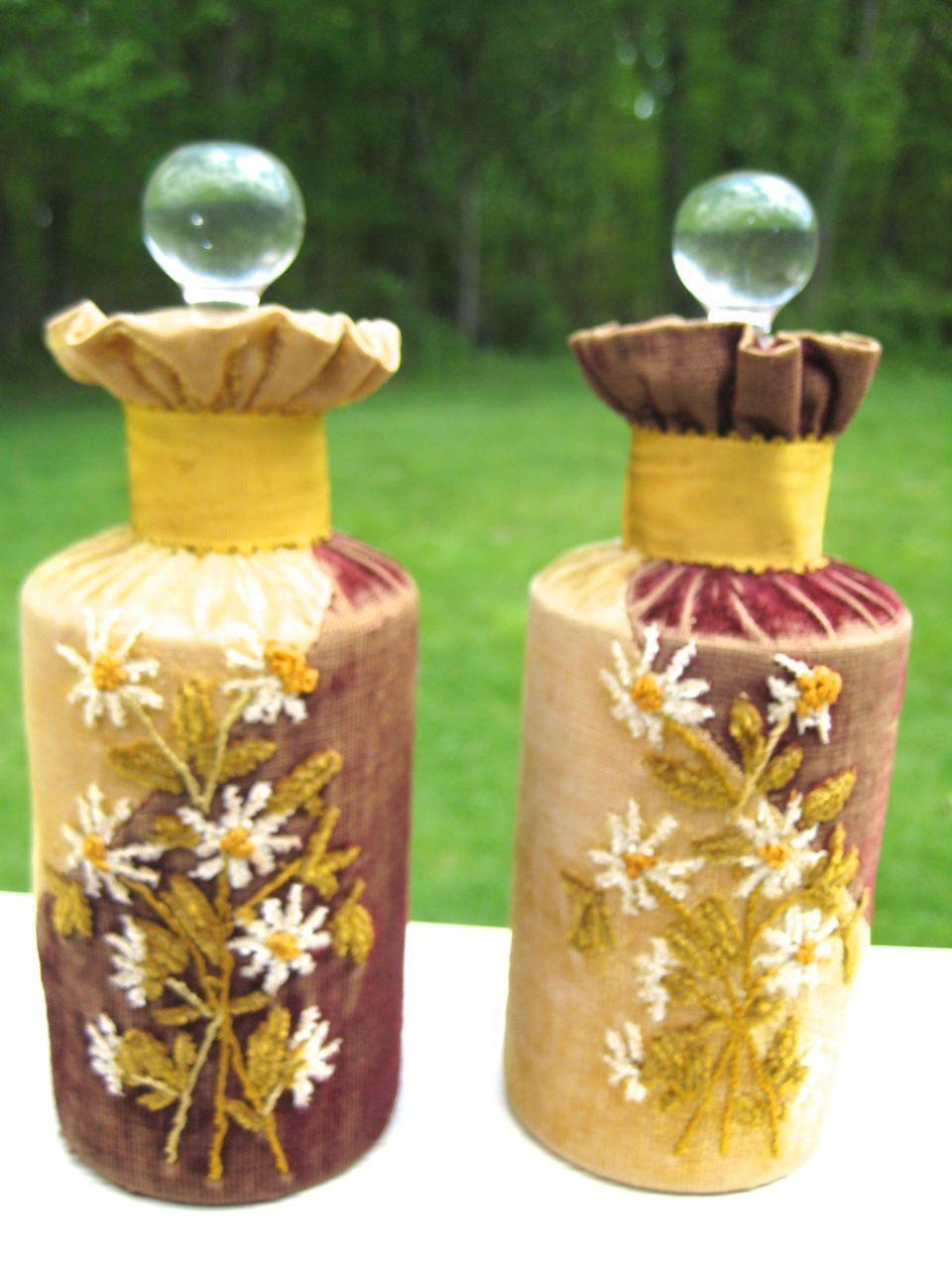 Rare Victorian Velvet Crewel-Work Pair of Perfume Bottles