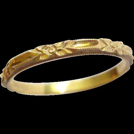 Art Deco Orange Blossom Stacking Wedding Ring 10k - 6.75 - 7