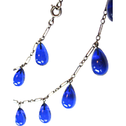 Rare Antique Art Nouveau Blue Pool of Light Teardrop Sterling Necklace