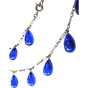 Art Nouveau Blue Pool of Light Teardrop Sterling Necklace