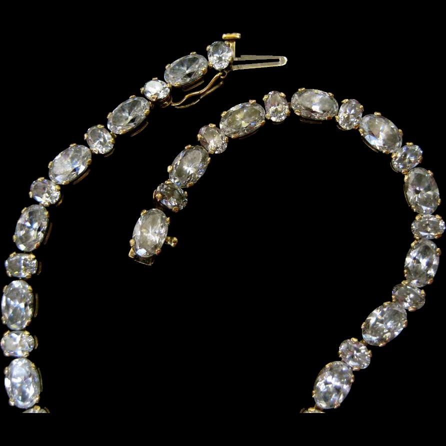 14k Gold Faux Diamond CZ Tennis Bracelet - 9 Grams