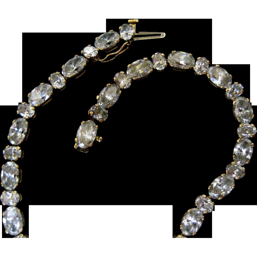 Unusual Oval 14k Gold Faux Diamond CZ Tennis Bracelet - 9 Grams
