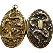 Large Antique Sterling Chinese Export Dragon Locket