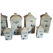 Rare Old Blue Bird Canister Spice Set - 12 pcs. - Red Tag Sale Item