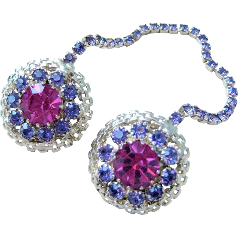 Pink and Purple Rhinestone Sweater Clip - MINTY!