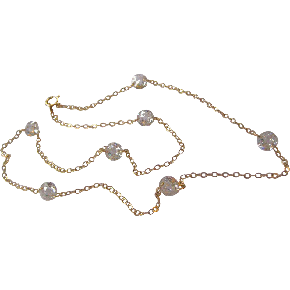 14k Gold and Floating CZ Station Necklace - 16 inches