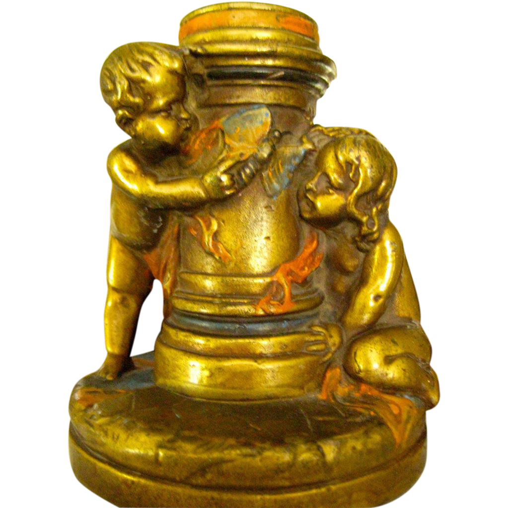 Rare Art Nouveau Armor Bronze Polychrome Painted Nude Cherub Butterfly Candle Holder
