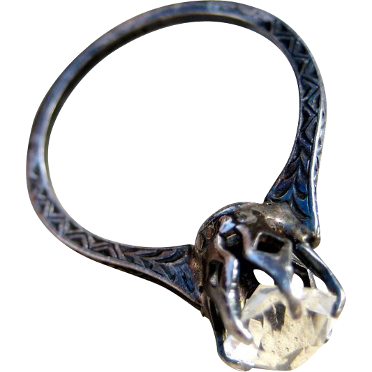 Edwardian Sterling Paste Solitaire Chased Ring
