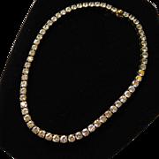 Heavy Sterling Vermeil CZ Faux Diamond Tennis Necklace