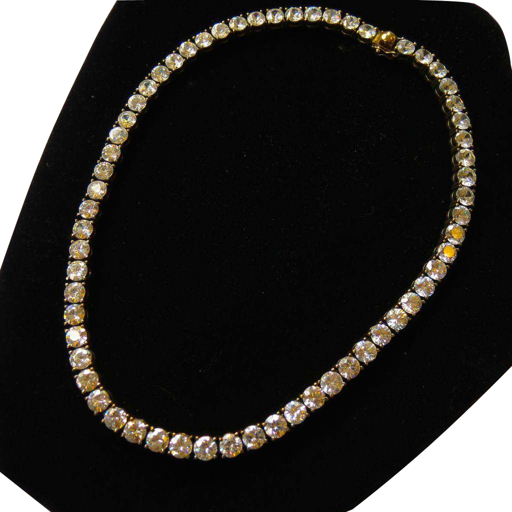 Heavy Sterling Vermeil CZ Faux Diamond Tennis Necklace