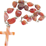 Mid-Century Sterling Silver Brazilian Red Orange Banded Agate Cross Necklace