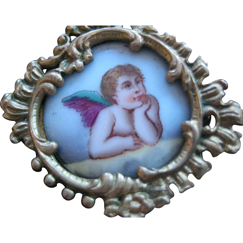 French Victorian Hand Painted Cherub Pin - Rococo Frame! Doll house Picture!