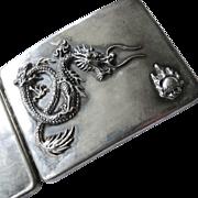 Art Deco Sterling Silver Chinese Dragon Cigarette Case