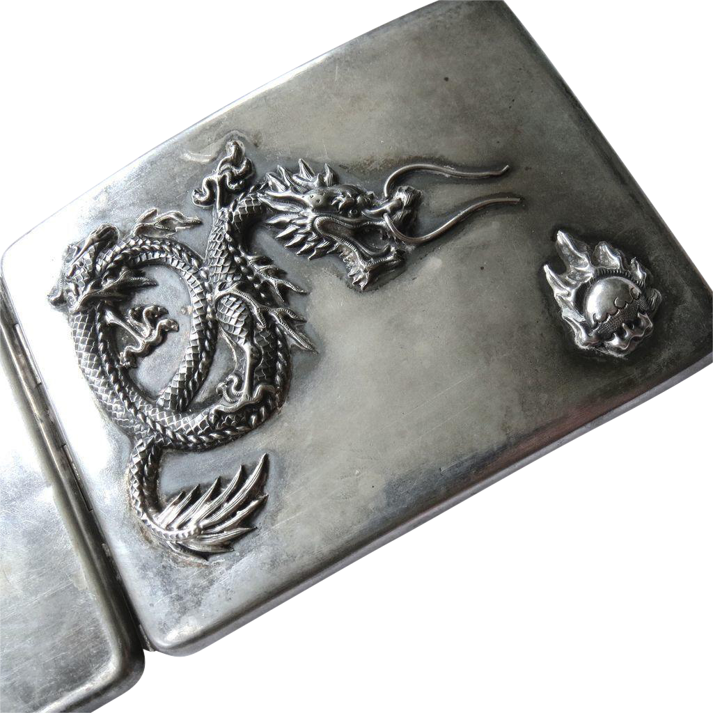 Art Deco Sterling Silver Chinese Dragon Cigarette Case