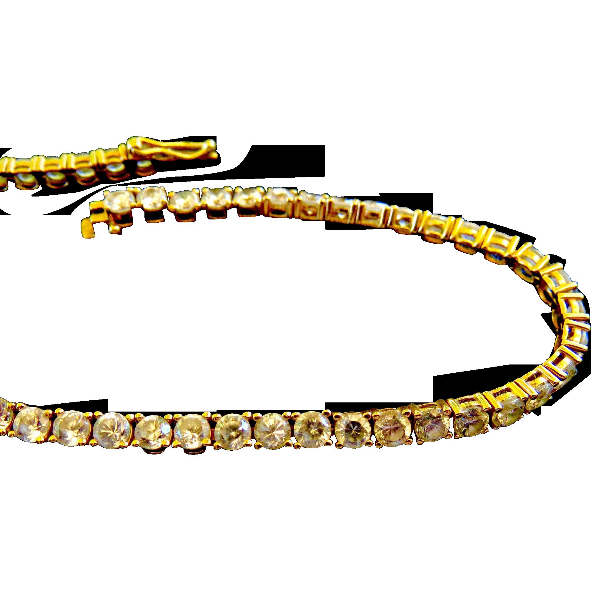 14kt Gold Tennis Bracelet - Faux Diamonds CZ