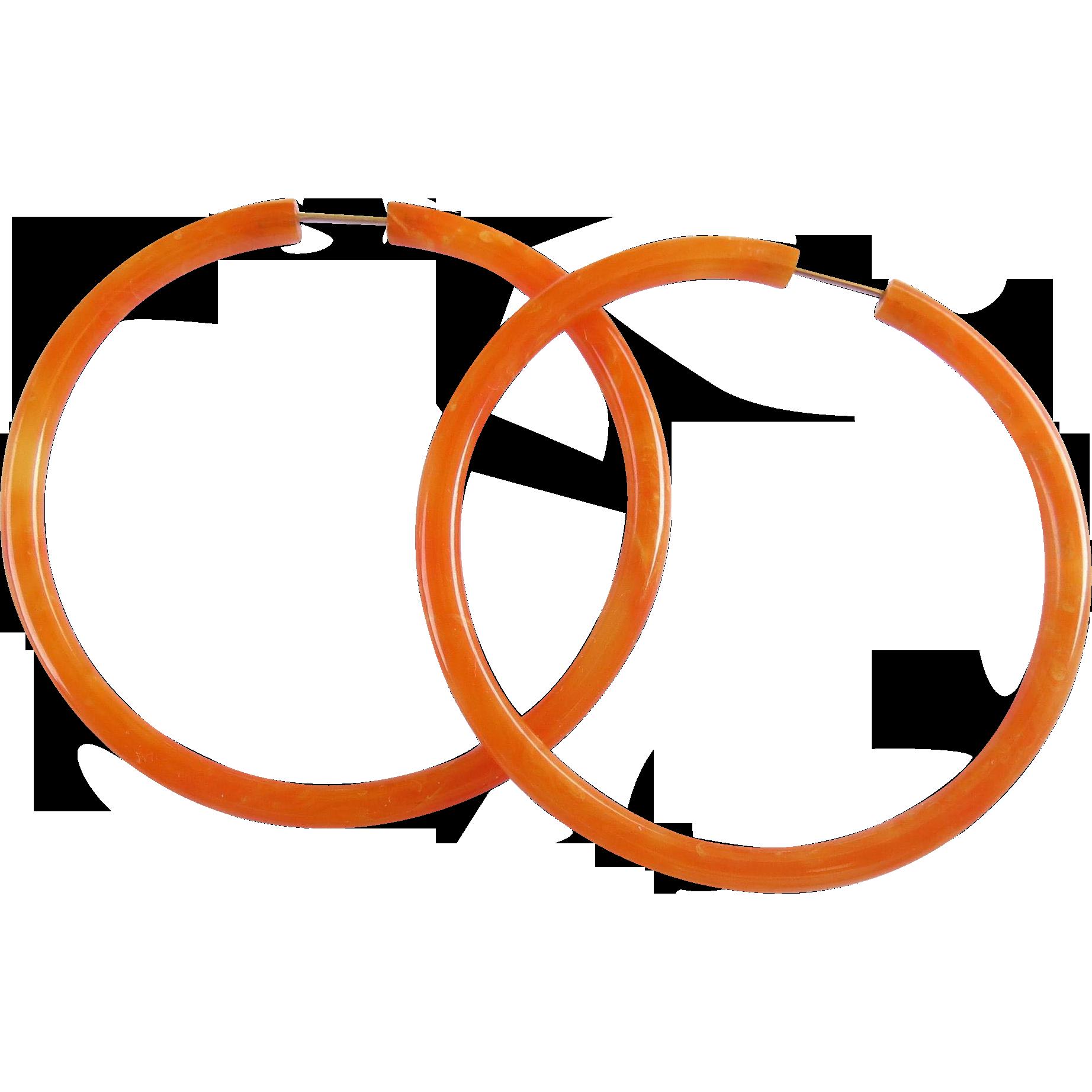 Bakelite Orange Creamsicle Speckled Large Hoop Earrings- Hard to Find - Mid-Century