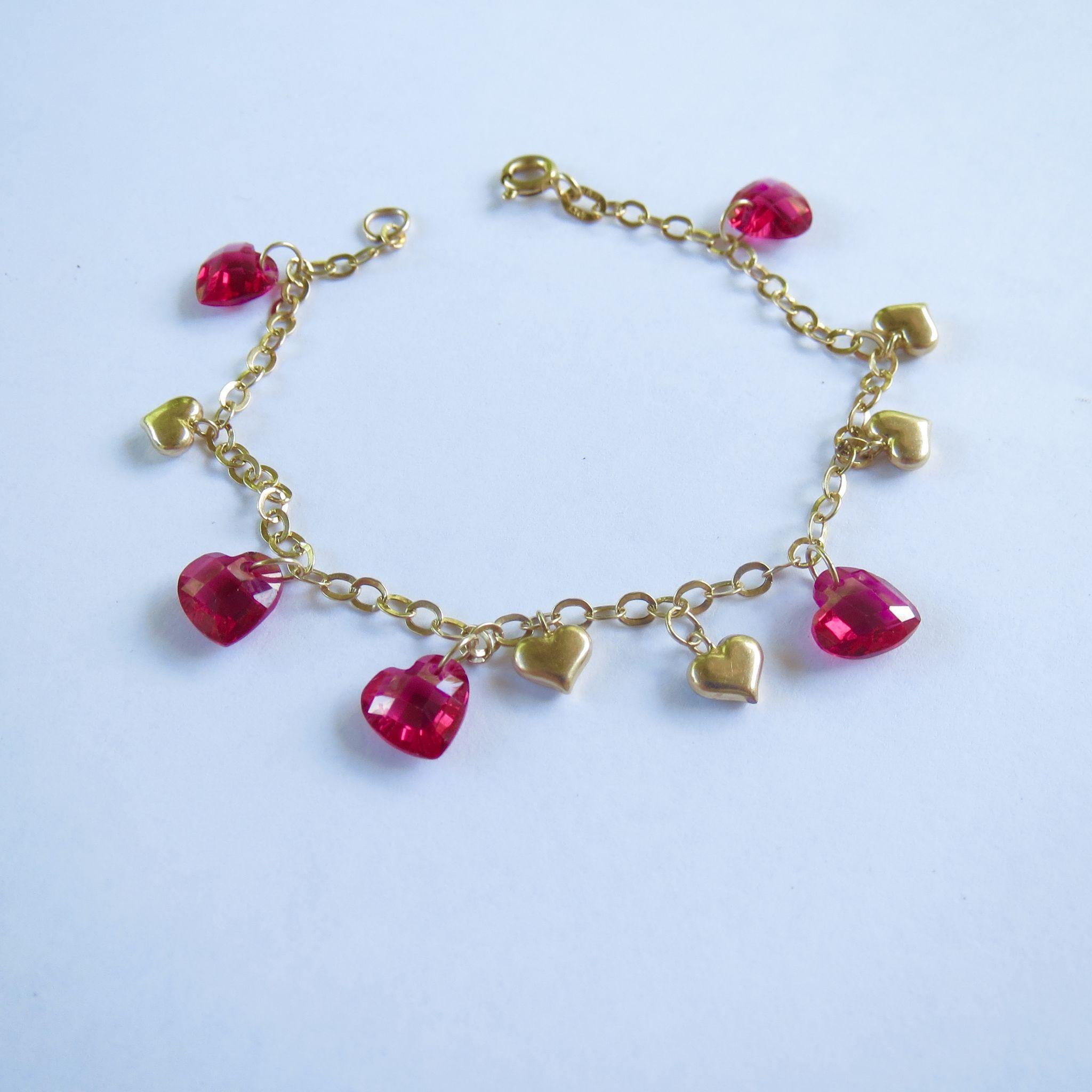 10K Gold and Ruby Crystal Heart Charm Bracelet 7 inches from