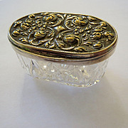 Petite Silver-plate and Crystal Pill or Trinket Box