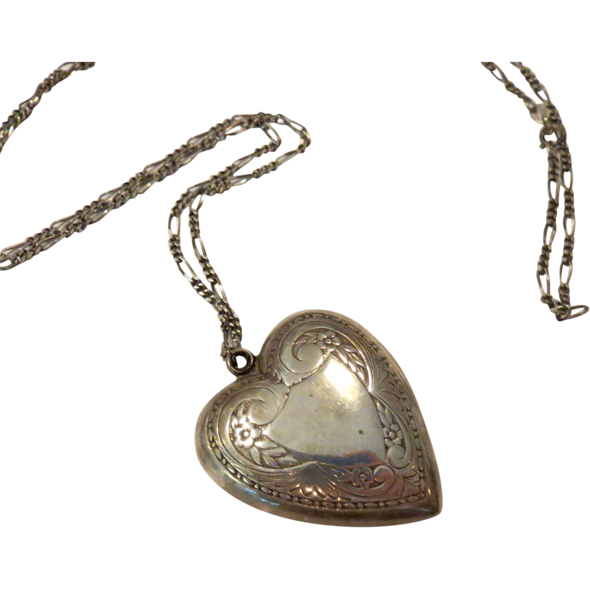 Rare Sterling Large Puffy Heart Necklace