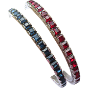 Art Deco Paste Bangles - Ruby Red and Sapphire Blue